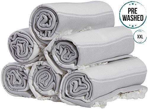 (Set of 6) XXL Turkish Cotton Bath Beach Hammam Towel Peshtemal Throw Fouta Blanket Set
