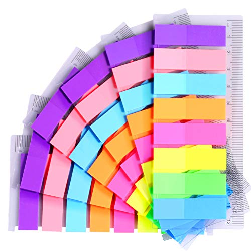 960pcs Bright Neon Small Index Flags, FANDAMEI 8 Colors Translucent Sticky Notes Flags Multicolour Index Tabs Page Makers, Mini File Tabs Flags PageMarkers Filing Tabs as Book Markers, Reading Notes