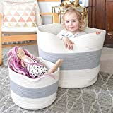 HAN-MM XXXL Cotton Rope Basket Extra Large Storage Baskets, 2PCS Laundry Baskets, Blanket Woven Basket(Large Size 21.7'X16' Small Size 12'x8') - Carry Handles for Towel,Toys Grey and Off-White