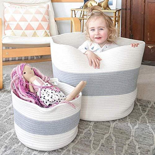 HAN-MM XXXL Cotton Rope Basket Extra Large Storage Baskets, 2PCS Laundry Baskets, Blanket Woven Basket(Large Size 21.7