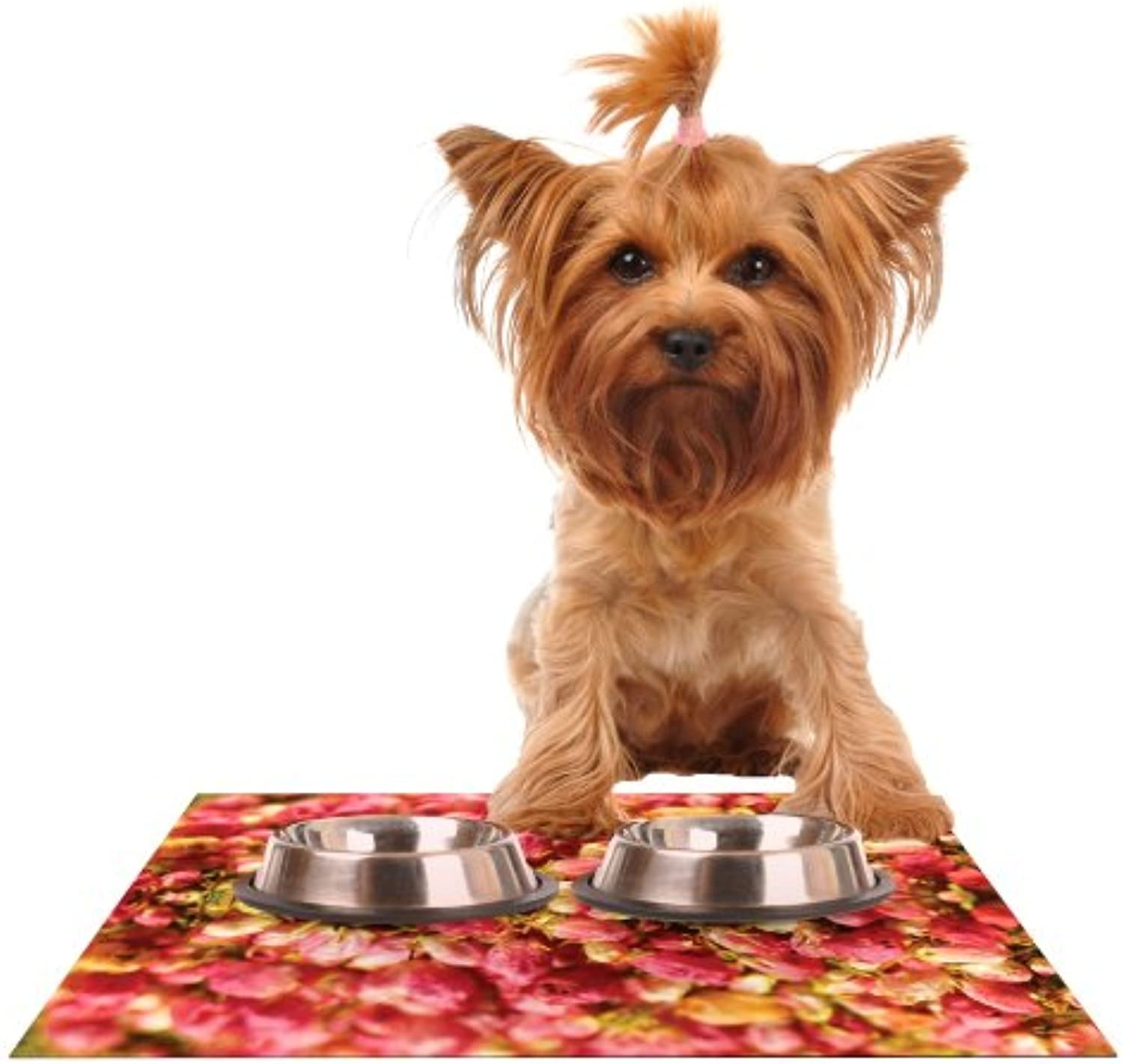 Kess InHouse Akwaflorell Close to You Red orange Feeding Mat for Pet Bowl, 18 by 13Inch