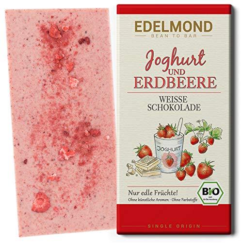 Edelmond Bio weiße Erdbeer Schokolade - mit Joghurt und getrockneten Früchten in bester Rohkost-Qualität. Ohne Farbstoffe, ohne Soja Emulgatoren ✓ (1 Tafel)