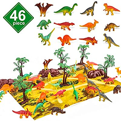 STEAM Life 46 Piece Mini Dinosaur Toy Set - Dinosaur Toys for 3 4 5 6 Year Old Boys and Girls - STEM Toys Dinosaurs Toy Set 36 Dinos a Playmat and Props - Triceratops Pterodactyl and T-Rex Toys by STEAM Life