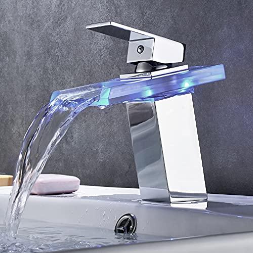 BONADE Grifo de Lavabo con Iluminación LED RGB para Baño Cascada Monomando...