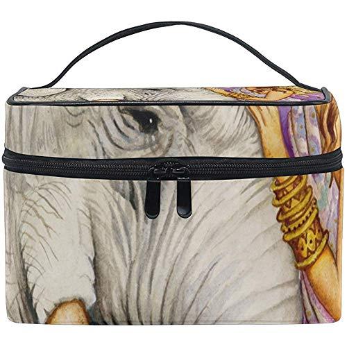 Éléphant Art Cosmetic Bag Travel Makeup Train Cases Storage Organizer