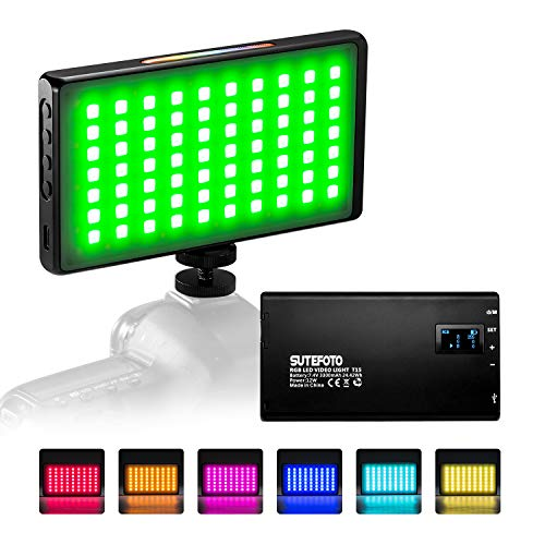 RGB Video Light Led Panel Portable Mini Built-in 7.4V 3300mAh Rechargeable Battery Light 1530Full Color 2500-8500K with Aerometal Alloy Shell for Camera Photography Youtube Studio Filming Recording