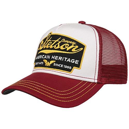 Stetson American Heritage Trucker Cap Herren - Basecap im amerikanischen Stil - Snapback Cap mit luftigem Netzeinsatz - Meshcap Sommer/Winter - Baseballcap Bordeaux One Size