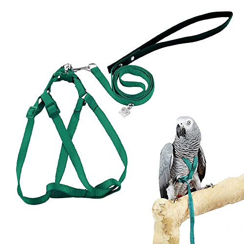 ASOCEA Adjustable Bird Harness and Leash for Yellow Naped Amazons Galah Cockatoos Small to Medium Breed Parrots Fits Birds Chest Between26-40cm /10.24-15.75inch - S