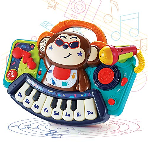WISHTIME Toddler Music Toy Monkey Piano Keyboard Musical Toys, with Lights & Sounds Learning Gift for Boys Girls