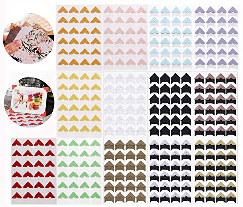 13 Sheets 13 Colors Photo Corner Stickers Holder Protectors Self Adhesive Photo Mounting Corner Stickers Picture Corners for DIY Scrapbooking Photo Album Personal Journal Diary 312 Count13 Colors