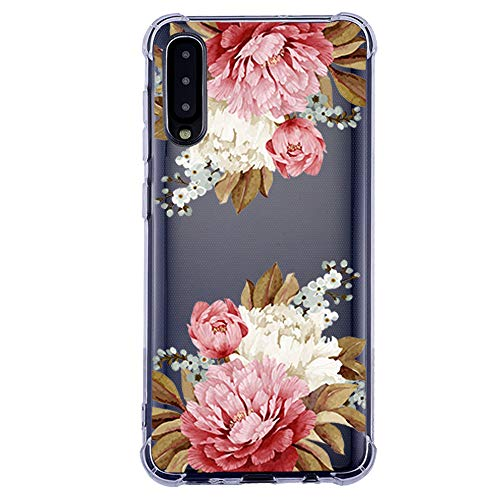 wonfurd Samsung Galaxy A50 Hülle Silikon Niedlich Blume - Rosa Transparent Silikon Ultra Dünn Handyhülle, Stoßfest Schutzhülle Durchsichtig Bumper Case für Galaxy A50-17