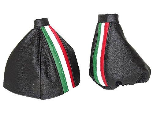 Für Alfa Romeo 1592005–2011Gear & Handbremsmanschette schwarz Italienisches Leder mit italienischem Farbe Streifen///