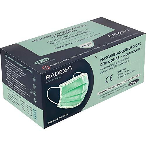 RADEX 85005020. Caja de 50 Mascarillas Quirúrgicas Tipo IIR con Gomas, Verde, Fabricado en España, Tres Capas, Material Hipo Alergénicos, Resistente a Salpicaduras