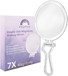 Cheftick Double Sided Hand Held Mirror - 1X & 7X Magnifying Travel Makeup Mirror with Adjustable Folding Handle, Portable, Transparent & Round (6