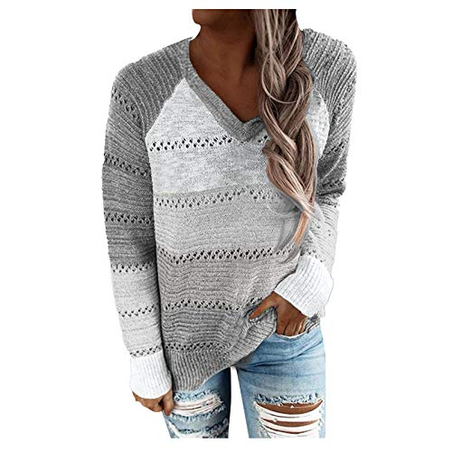 Berimaterry Jerséis mujer de Punto Suelta casual Suéter Tejido de Punto cómodos camisetas manga larga mujer jersey de otoño camisetas mujer baratas v-cuello de Acolchado ropa para mujer blusa moda