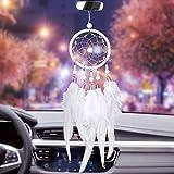 Dremisland Dream Catchers Handmade White Dream Catcher Car Rear View Mirror Pendant Charm with Pearl Ornament (White)