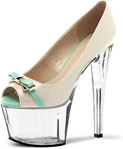 L@YC zapatos De TacóN Alto para mujer 17 Cm Días De Odio Peces De Agua Alta Lucha Boca Bow Color