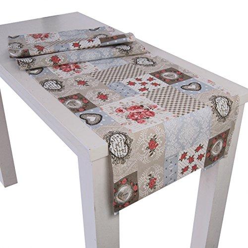 """beties """"Dorfkinder"""" Tischläufer ca. 40x130 cm Tischband in großer Sortiments- und Größenauswahl - Shabby Chic für den perfekten Landhaus Style Farbe (Taupe-rot)"""
