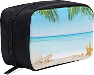 Tropical Beach, Beach Starfish Portable Travel Makeup Cosmetic Bags Organizer Multifunction Case Small Toiletry Bags For Women And Men Brushes Case