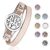 Gleamart Huile Essentielle Diffuseur Bracelet Aromathérapie en Acier Inoxydable Médaillon Bracelets en Cuir avec 8 pcs Couleur Pads Bijoux Cadeau pour Femmes