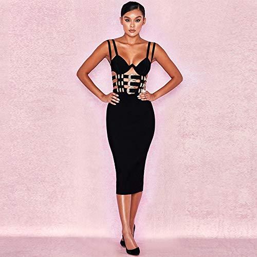 JJHR Kleider Damen Abendkleid Hollow Backless Slim Bandage Kleid Party Nightclub Partykleid, L