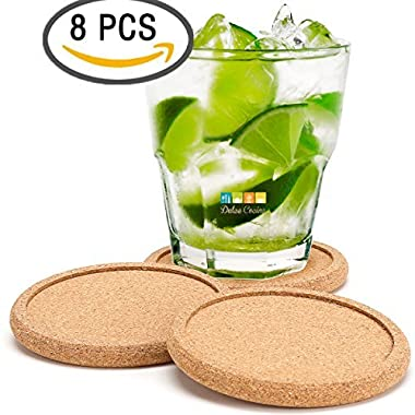 CORK COASTERS FOR DRINKS, Absorbent Cup Mat With Round Ring Protect Wood Furniture, Premium 8 Pack for Men & Women, Large Rustic Design Stop Spill From Hot Coffee and Cold Drinking Beverage, No Holder