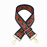 SWTOOL 2' Wide 28'-50' Adjustable Length Handbag Purse Strap Guitar Style Multicolor Canvas Replacement Strap Crossbody Strap, with 2Pcs Gold Metal Buckles (Style9)