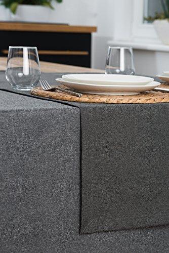 Rollmayer abwaschbar Tischläufer Wasserabweisend/Lotuseffekt (Melange Grau 68, 40x180cm) Leinenoptik Tischtuch mit pflegeleicht Fleckschutz, Rechteckig, Farbe & Größe wählbar