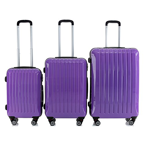 Set of 3 Purple Hard Shell ABS Trolley Cases Suitcase Luggage Bag 20' 24' 28'