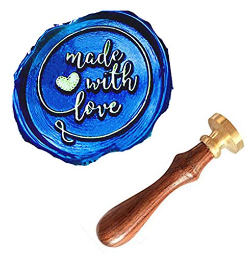 MNYR Made With Love Heart Monogram Wax Seal Sealing Stamp Kit Rosewood Handle Ideal for Mother's Fathers Day Valentine Decorating Gift Packing Envelope Parcel Card Letter Wedding Invitation Seal Stamp
