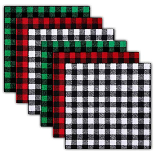 Christmas Buffalo Plaid Cotton Fabric, 6 Pieces Christmas Quilting Fabric Squares Plaid Sewing Patchwork Fabric for DIY Craft, 20 x 20 Inch