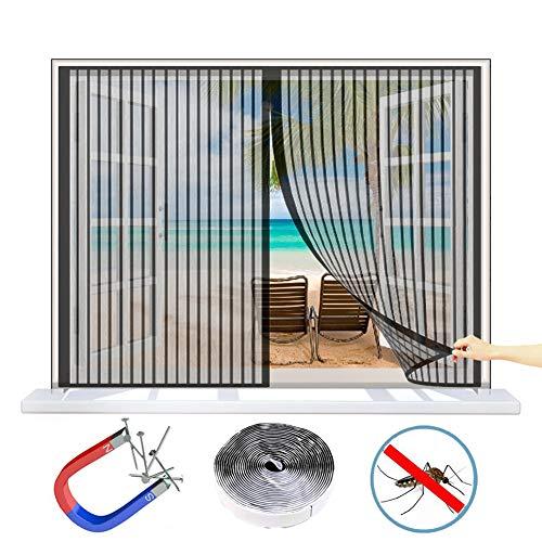 WISKEO Fenster Fliegengitter Rollo Magnet Verschiedene Größen Insektenschutz magnetisch Anti-Moskito Insektenschutzgitter Stabil Ohne Bohren Dach Schiebe Tür - Schwarz 125x100CM(WxH)