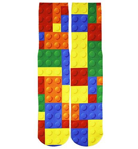 Benefeet Sox Mens Funny Crazy Socks Unisex Cool Funky 3D Print Patterned Socks Boys Youth Novelty Athletic Tube Socks Gift,Le Toy Bricks