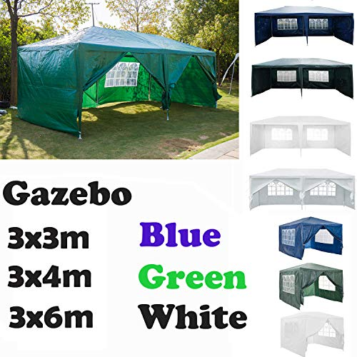 AutoBaBa Garden Gazebo Marquee 3mx6mx2.5m Garden Tent Outdoor Party Tent Steel Tube Strong Marquee, Green, with 6 Sidewalls Side Panels (Type A)