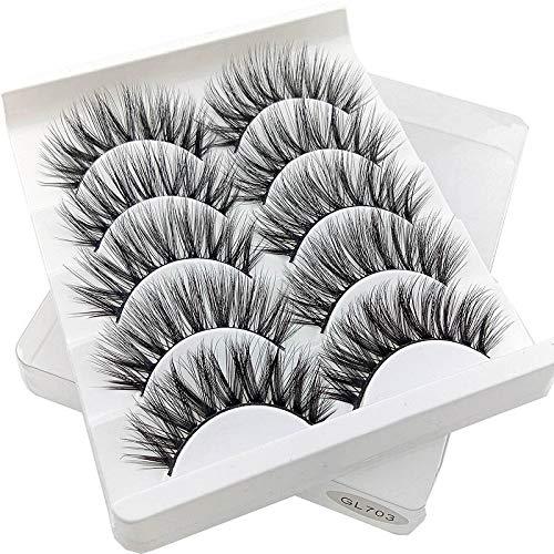 5Pairs 3D Mink Hair Faux Cils Naturel/Épais Oeil Long Cils Wispy Maquillage Beauté Extension Outils (Color : 13)