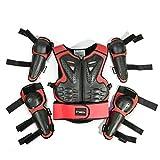 WOSAWE Gilet Armatura da Moto per Bambini Protezione di Motocross con Gomitiere e Ginocchiere per Scooter Ciclismo Pattinaggio Sciare (Style2 Rosso)