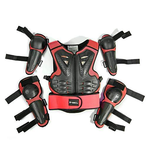WOSAWE Kinder-Schutzkleidung mit Knieschoner Ellenbogenschoner Schutz Weste Motorrad Ganzkörperschutz Rüstung für Ski Snowboard Motocross Sport (Styl2 Rot)