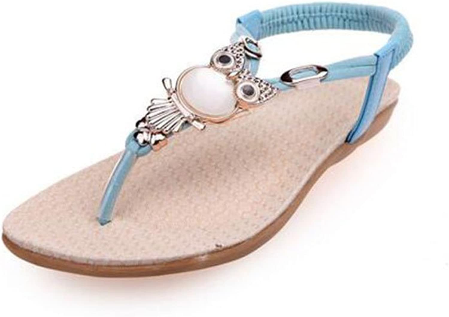 Exing 2018 New Womens's shoes Flat Sandals Female Summer Flat with Beaded Toe Beach shoes