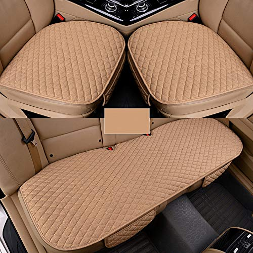 Piaobaige Car Seat Covers Linen Fabric Car Seat Protector Four Seasons Front Rear Flax Cushion Breathable Protector