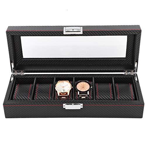 Organizador de exhibición de relojes, 6 ranuras para joyas, con un candado de piel sintética, color negro, para relojes y joyas