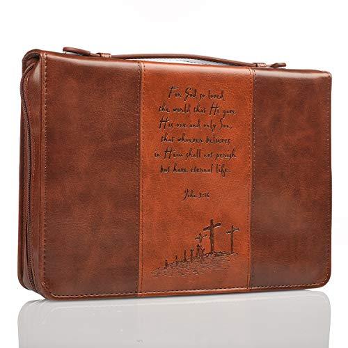 BROWN/TAN TWO-TONE LARGE BIBLE COVE