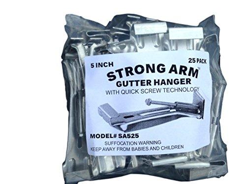 "Quick Screw 5"" 25 Pack Heavy Duty Hidden Rain Gutter Bracket Hook Hangers With Clip"