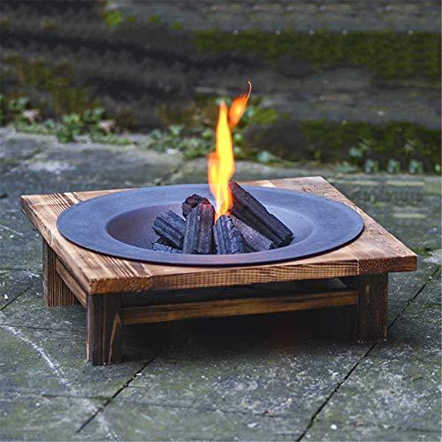 WSN Mesa de Pozo de Fuego, Calentador de Metal para Patio al Aire Libre con Soporte de Pino, Chimenea de jardín para Acampar, Calentador de carbón de Hierro Fundido Antiguo Calefacción de carbón