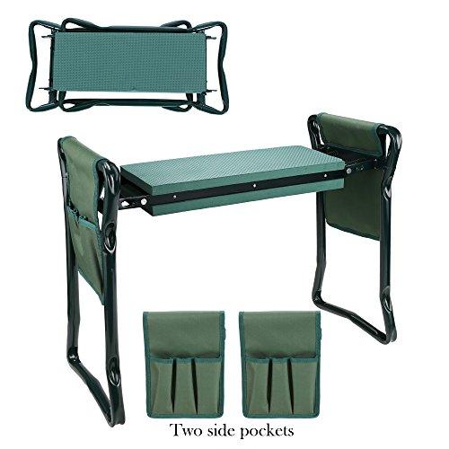 Busyall pieghevole strumento di casa sedia da giardino e inginocchiatoio portatile, sgabello multiuso in ginocchio Bench e con due tasche