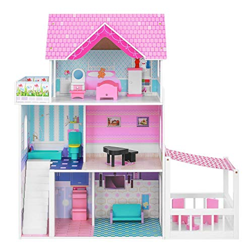 BABLE Wooden Dollhouse with Furniture Pieces,Toy House for Little Girls 3-8 Years Old, Kids Pretend Play Dollhouse Kit, Toy Play Set Dollhouse Toy with Accessories, 34 x12 x34 in,Pink