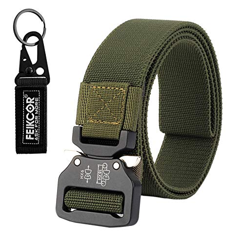FEIKCOR Tactical Belt Military Nylon Webbing Belt with Heavy Duty Buckle, Elastic Loop-Keep The Slack in Place (Army Green)