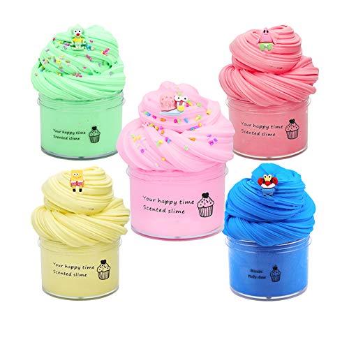 SWZY Fluffy Cloud Slime, DIY Slime Kit Set, Arcilla Seca al Aire, Fairy Putty Stress Relief Toy Perfumado Sludge Toy Niños Adultos 5pcs
