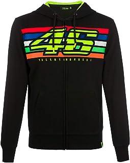 Valentino Rossi Vr46 Classic-Stripes, Full Zip Hoodie Hombre, Negro, XS
