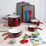 Tasty 30 Piece Heavyweight Non-Stick Ceramic Cookware Set - Includes Google Home Mini