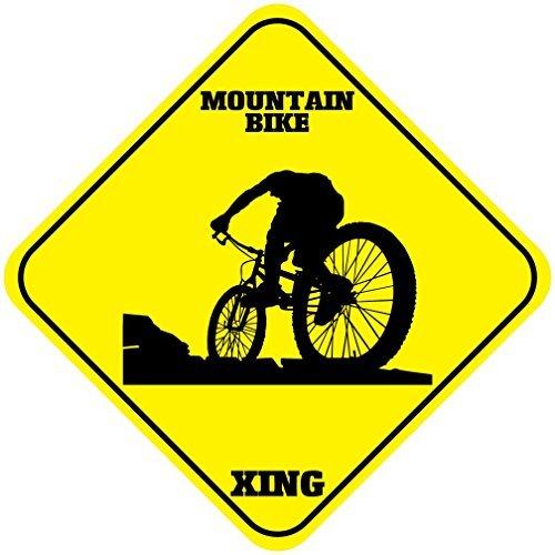 Mountainbike Voorzichtigheid Teken Kruisbord Outdoor Geel Diamant Metalen Tekenen Nieuwigheid Grappige Aluminium Teken Yard Teken Metalen Wandplaat 12x12 inch